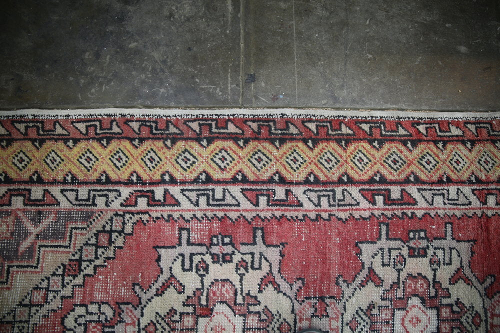 Vintage Faded Anatolian Turkish Rug Runner 3.1ftx9.5ft