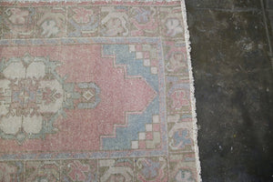 Vintage Faded Anatolian Turkish Runner Rug 2.10ftx9ft