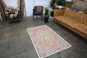 Vintage Faded Anatolian Rug 3.5ftx5.7ft