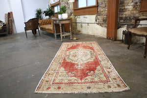 Vintage Faded Anatolian Turkish Rug 3.4x7.2