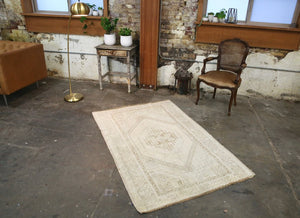 Vintage Faded Anatolian Rug 3.9ft x 5.10ft
