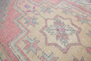 Vintage Faded Anatolian Turkish Rug 3.5ft x 5.7ft