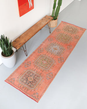 Old Konya Sille Turkish Runner Rug 3.4ftx10.5ft