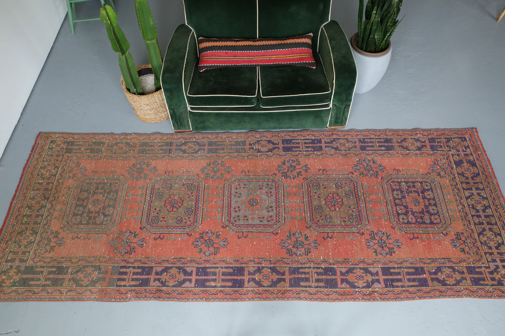 "Vintage Konya Sille Turkish Runner Rug  4'2""x11'4"""