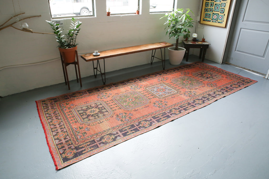 Old Konya Sille Turkish Runner Rug 4.4ftx11.3ft