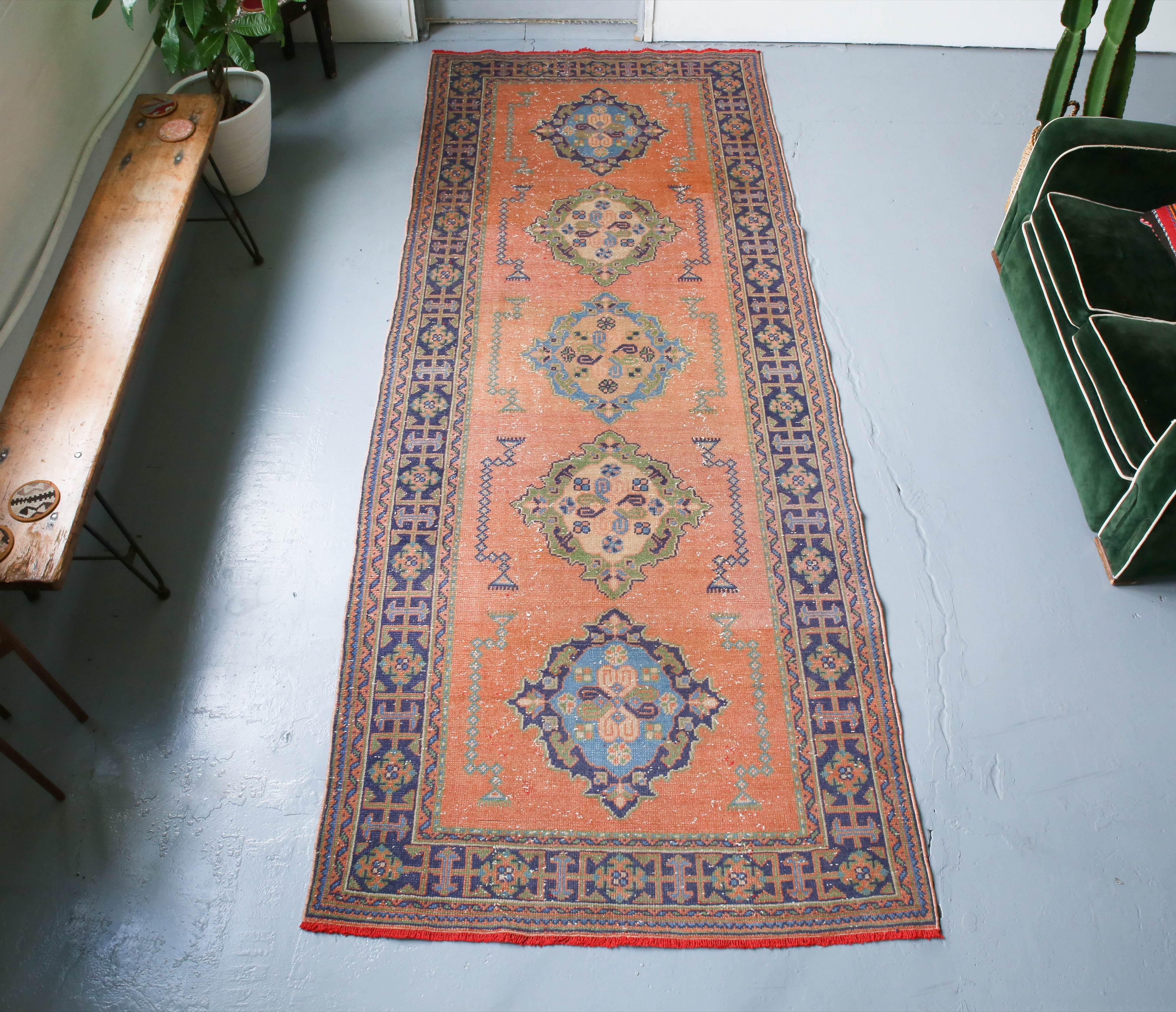 Old Konya Sille Turkish Runner Rug 4.5ftx11.5ft