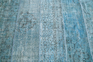 Vintage Overdyed Patchwork Rug overdyed in Aqua 8ftx14ft
