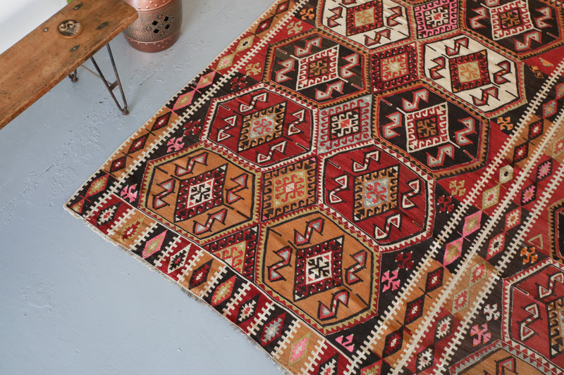 "Semi-antique Sivas Kilim 10'8""x12'4"""