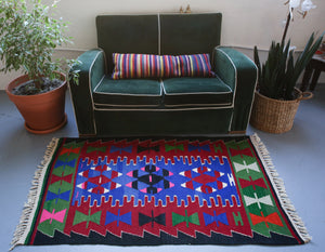 Vintage Mini Turkish Kilim Rug 3ftx5ft