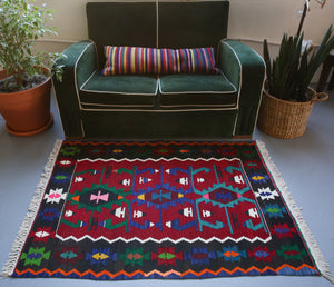 Vintage Mini Turkish Kilim Rug 3.3ftx4.9ft