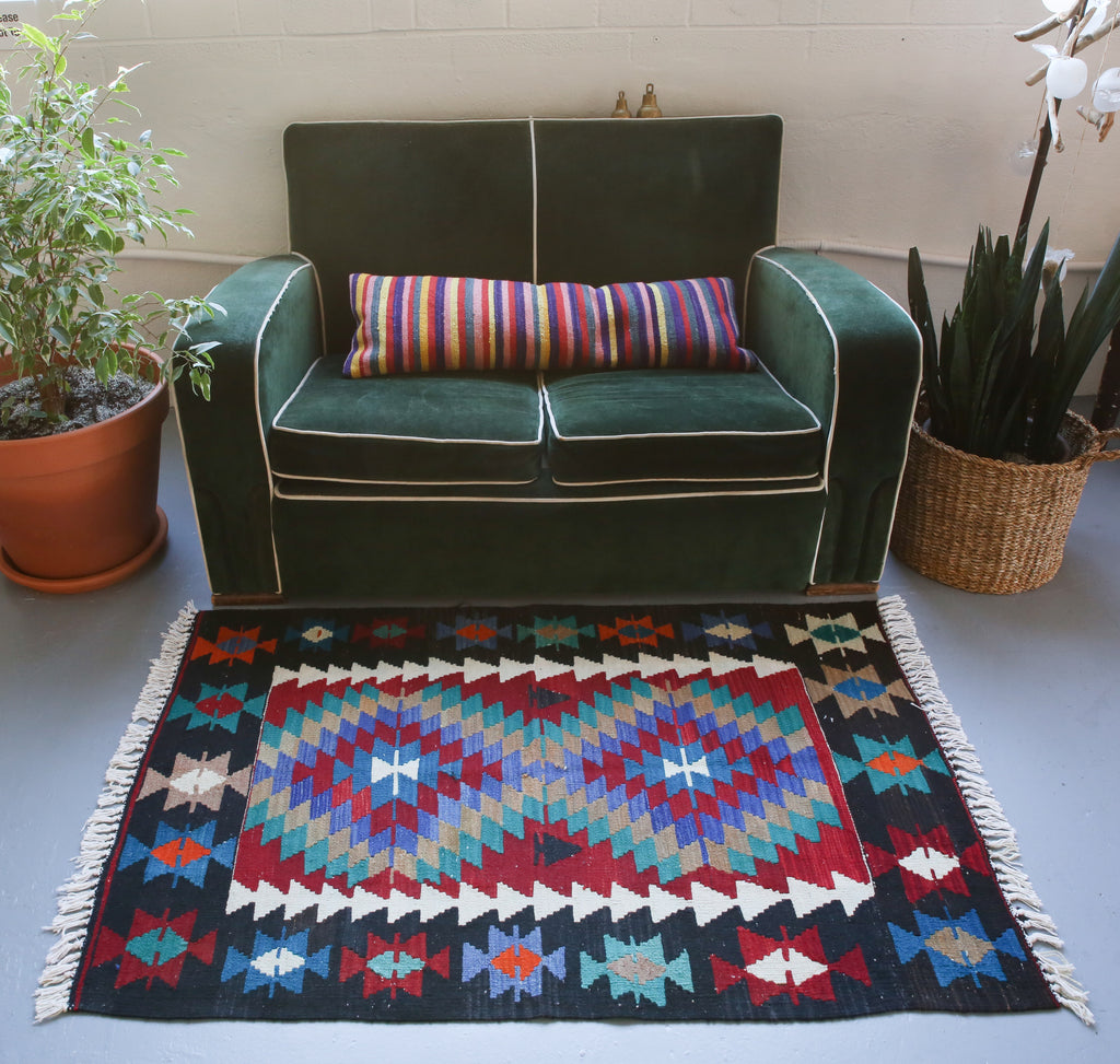 Vintage Mini Turkish Kilim Rug 3ftx4.5ft