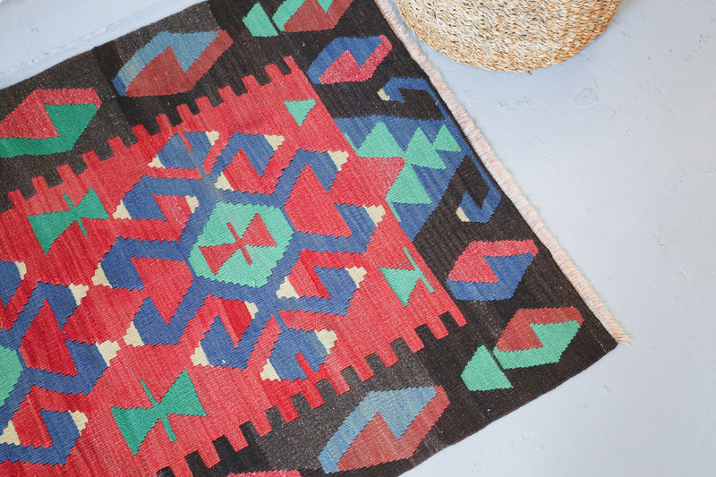Vintage Mini Turkish Kilim Rug 2.7ftx4ft