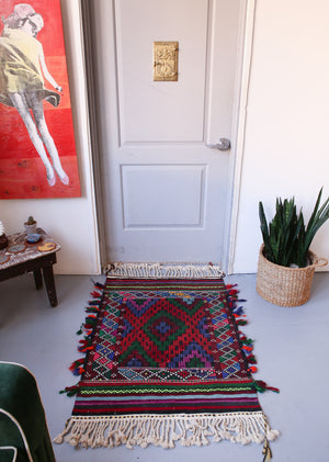 Vintage Mini Turkish Kilim Rug 2.10ftx4ft