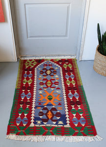 Vintage Mini Turkish Kilim Rug 2.9ftx4.5ft