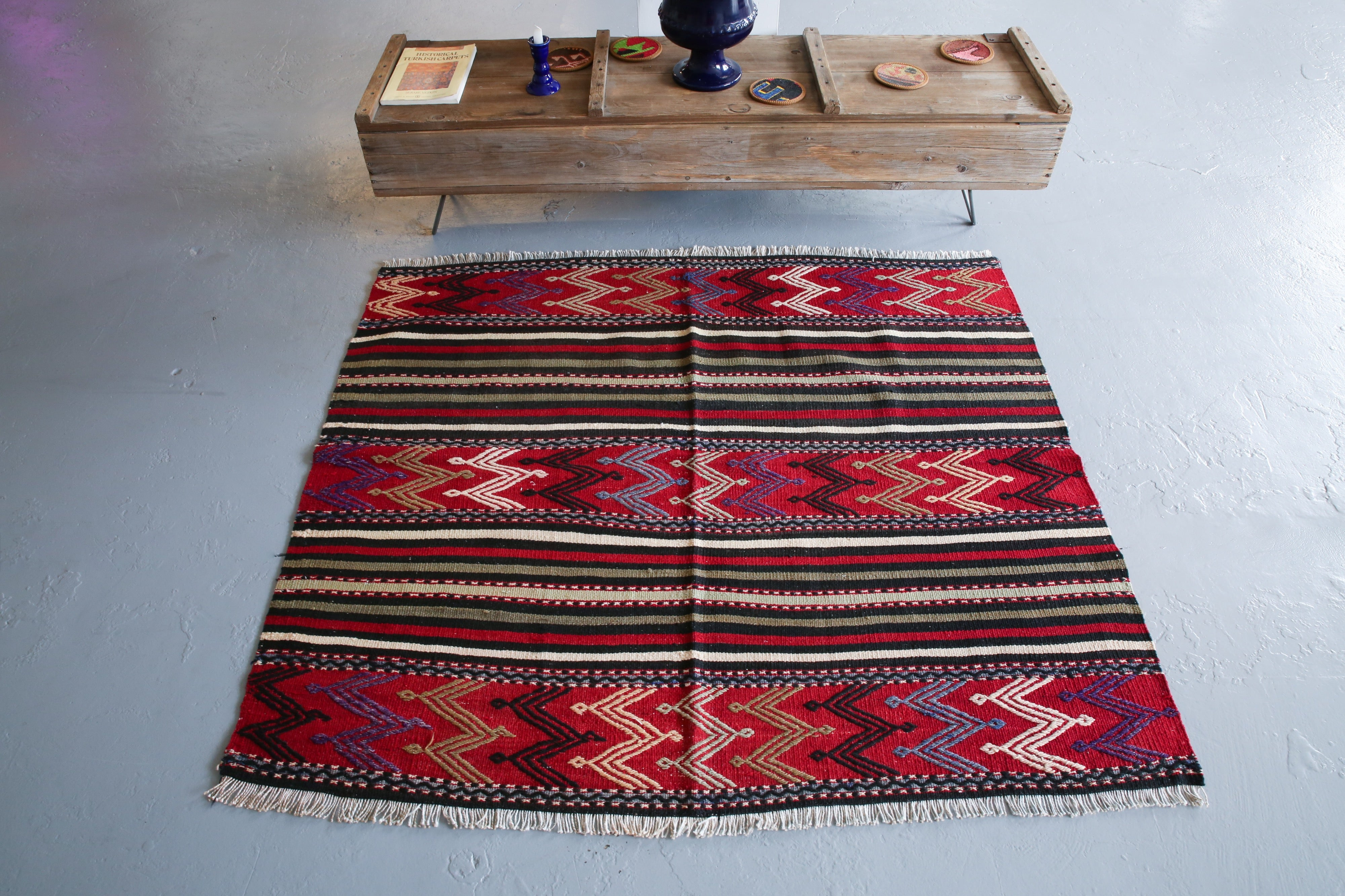 Vintage Mini Turkish Kilim Rug 4ftx4.6ft