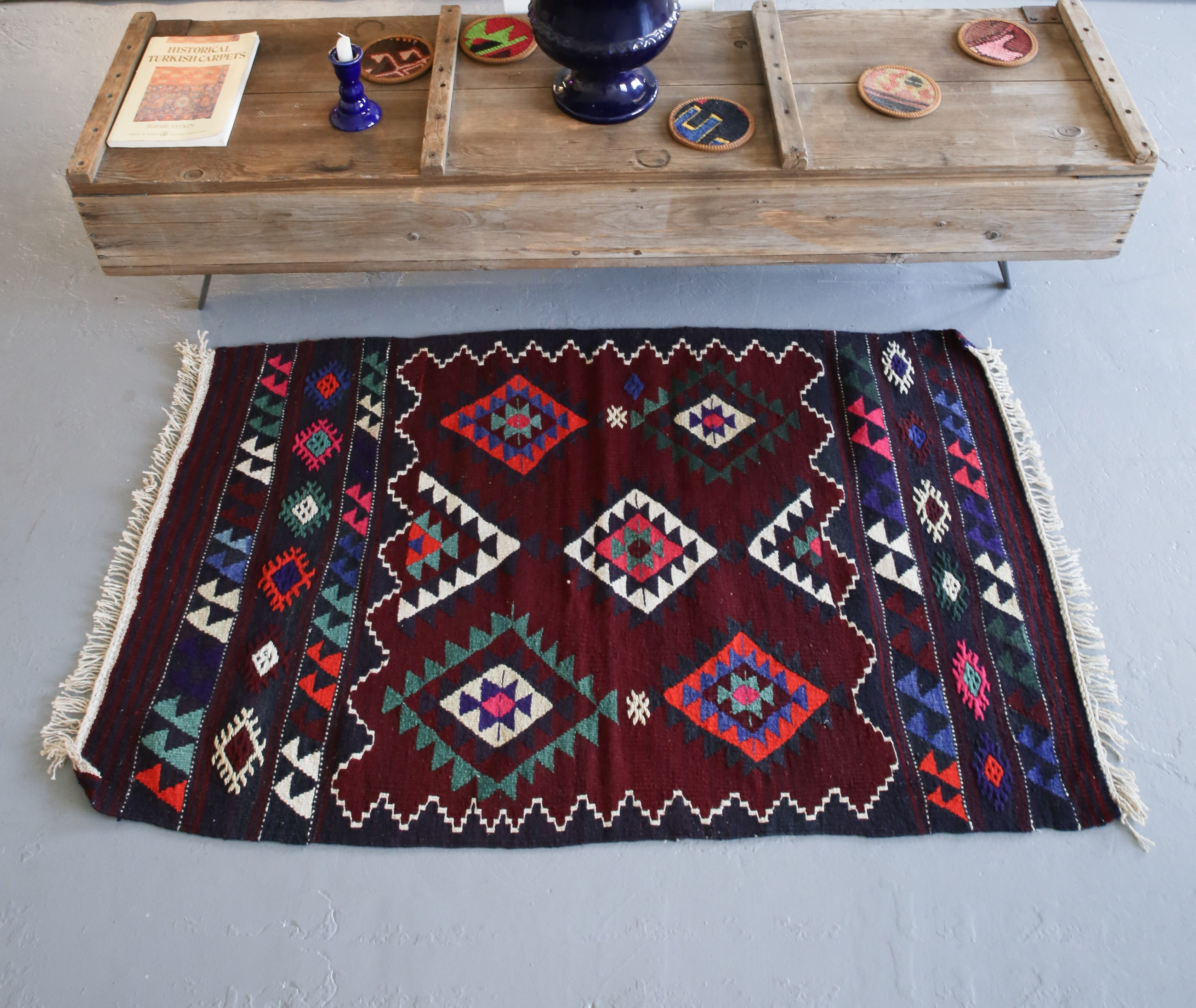 Vintage Mini Turkish Kilim Rug 2.4ftx4ft