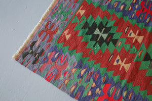 Vintage Mini Turkish Kilim Rug 2.8ftx4.2ft