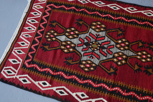 Vintage Mini Turkish Kilim Rug 3ftx5.4ft