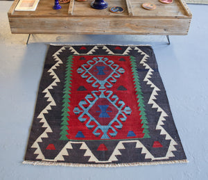 Vintage Mini Turkish Kilim Rug 3ftx3.7ft