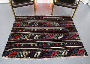 Vintage Mini Turkish Kilim Rug 4ftx5ft