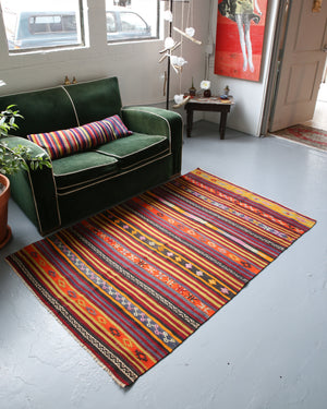 Vintage Mini Turkish Kilim Rug 3.9ftx5.9ft
