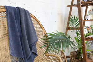 Handwoven Sabah Pestemal Towel in Navy (soft)