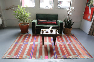 Old Bodrum Bos Kilim 4.10x7.10ft