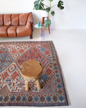 Vintage Turkish rug in living room setting, old rug, antique rug, pastel colors, faded colors, Turkish rug, vintage rug, soft rug, Portland, Oregon, rug store, rug shop, local shop
