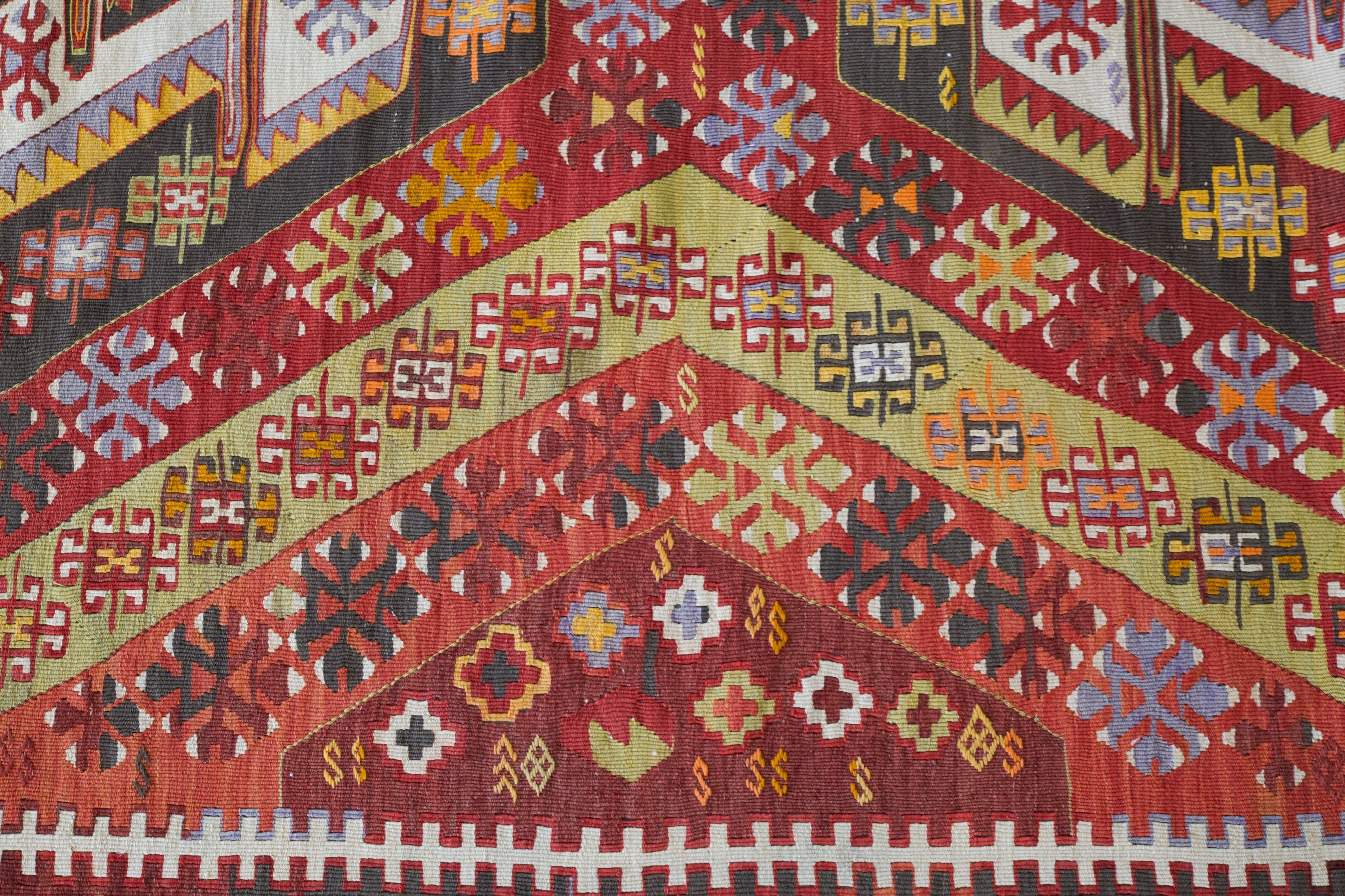 Turkish rug, vintage rug, flat weave, kilim rug, large area rug, square rug, Wild Shaman, Portland, Oregon, rug store, rug shop, local shop,  bright colors, area rug, red rug, bold color