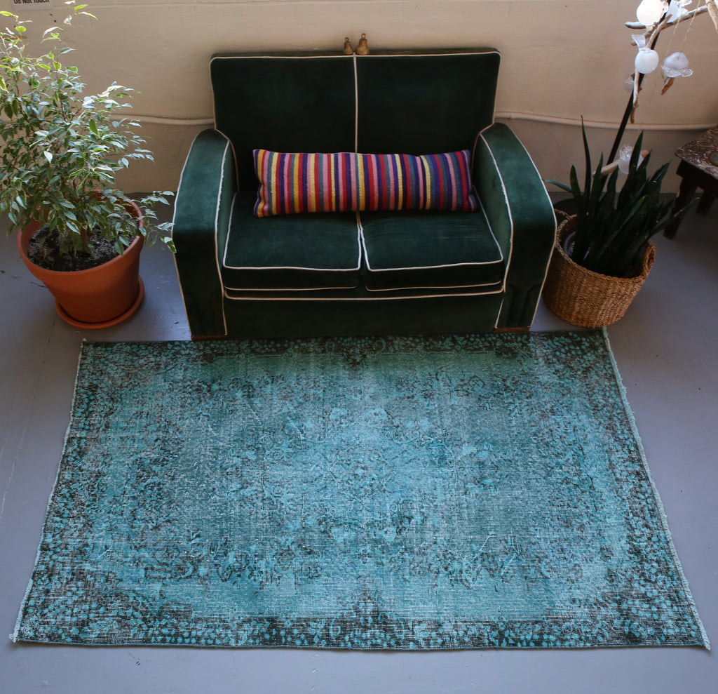 Vintage Turkish Overdyed Rug in Oxide Blue 4ftx6.9ft