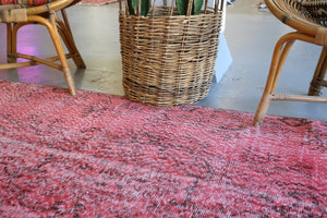 Vintage Turkish Overdyed Rug in Powder Pink 3.7ftx6.10ft