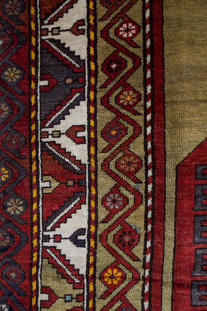 Old Turkish Ushak Carpet 5.7x10.5ft