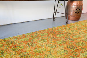 Vintage Overdyed Turkish Runner Rug in yellowy org. $450