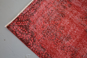 Vintage Turkish Overdyed Rug in Ruby 3.9ftx6.7ft
