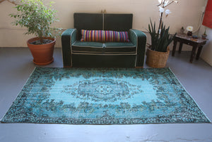Vintage Turkish Overdyed Rug in Aegean Blue 4ftx7.3ft