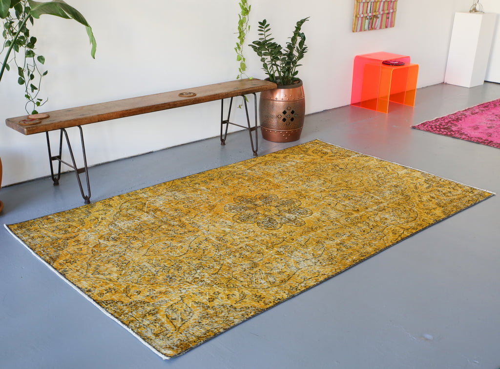 Vintage Turkish Overdyed Rug in Meyer Lemon 4.7ftx7.10ft
