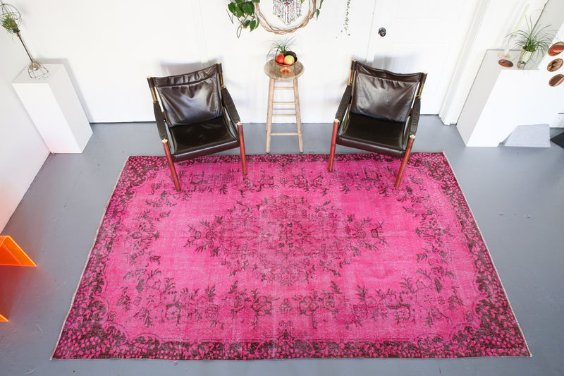 Vintage Turkish Overdyed Rug in Cotton-candy Pink 6ftx9.7ft
