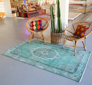 Vintage Turkish Overdyed Rug in Sea Green 3.10ftx6.6ft