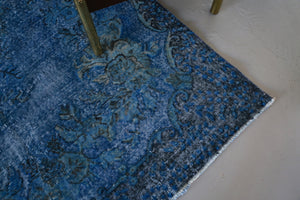 Vintage Turkish Overdyed Rug in Cobalt Blue 5.9ftx10ft