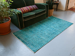 Vintage Turkish Overdyed Rug in Teal 3.3ftx6.2ft