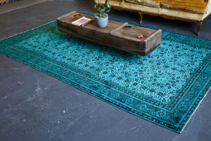 Vintage Turkish Overdyed Rug in Velvety Crystal Blue 6ftx9.3ft
