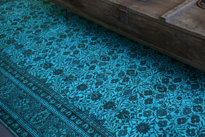 Vintage Turkish Overdyed Rug in Crystal Blue close up, Wild Shaman Rug Store
