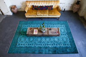 Vintage Turkish Overdyed Rug in Crystal Blue, Wild Shaman Rug Store