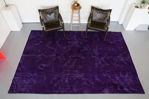 Vintage Turkish Overdyed Rug in Velvety Dark Violet 6.10ftx10ft