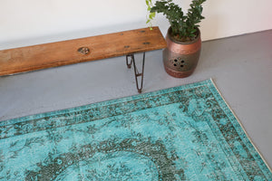Vintage Turkish Overdyed Rug in Cyan 5.2ftx8.10ft