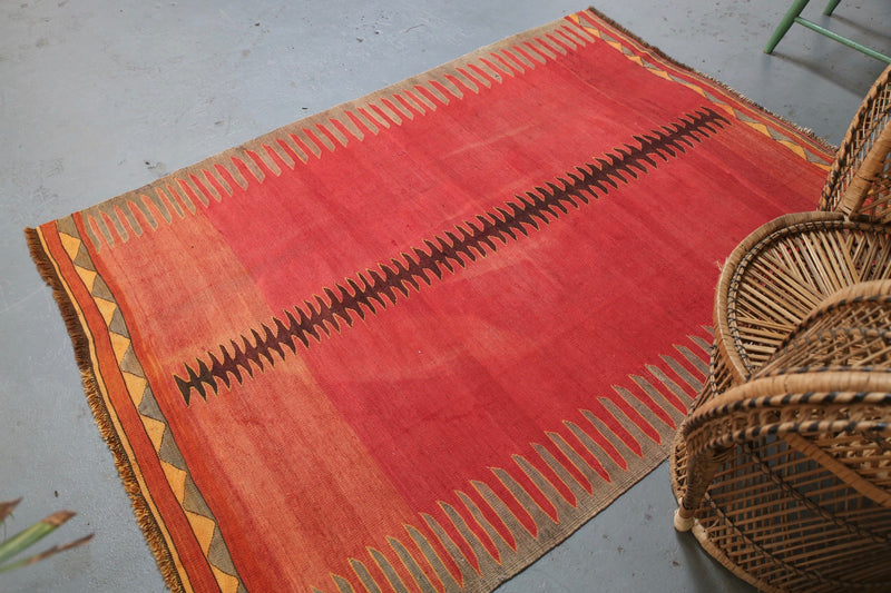 Old Bodrum Bos Kilim 4.6x6.3ft