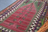 "Semi-Antique Turkish Konya Obruk Kilim Rug  4'8""x7'7"""