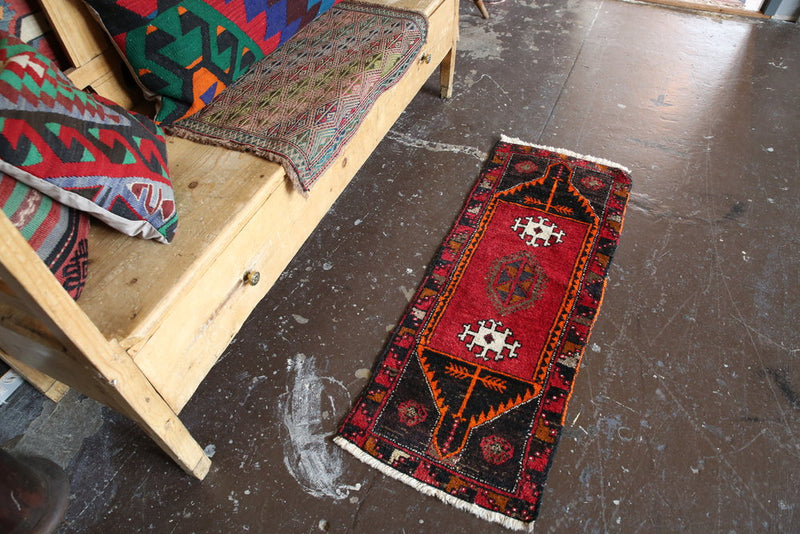 Old Mini Turkish Rug 1.7x4.4ft