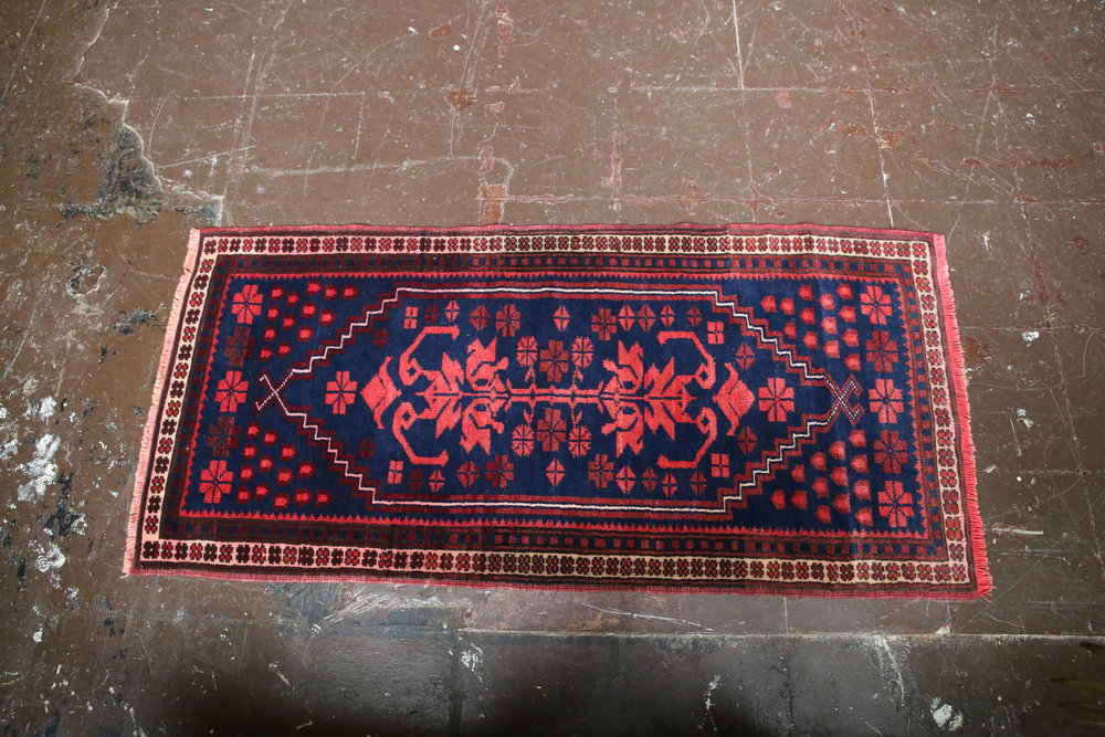 Old Mini Turkish Rug 2x4.2ft
