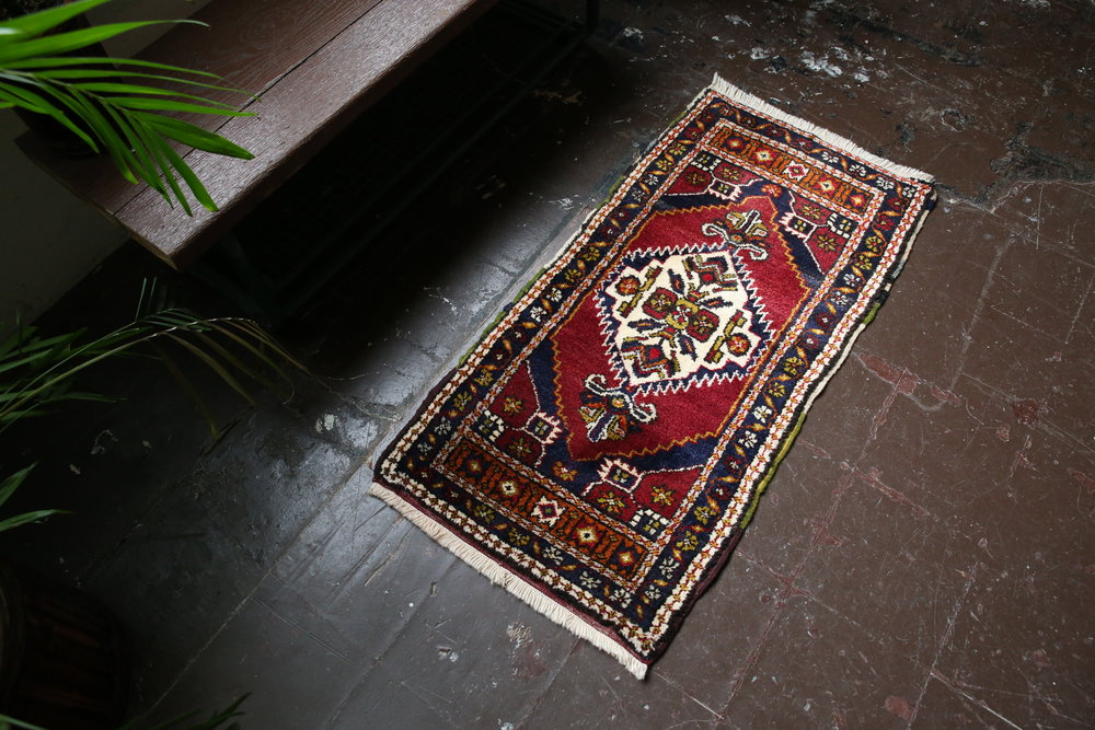 Old Mini Turkish Rug 2ftx3.10ft
